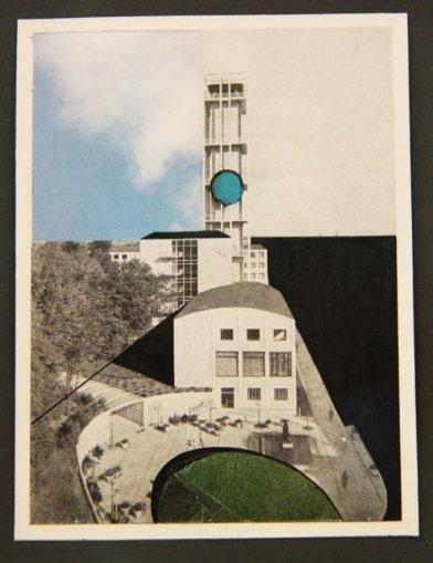 Julie Boserup: Rådhus, del af serien Fifteen Years (1-21), Collage på fotoillustration 22, 5 x 16,5 cm, 2010.