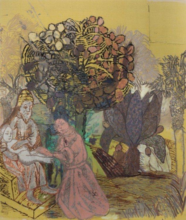 Galerie Buchholz i New York repræsenterer Sergej Jensen og viste i dette efterår en soloudstilling med hans nyeste værker. Blandt dem mange med mytologiske motiver. Uden titel, 2015. Akryl på linned. Courtesy: Galerie Buchholz, NYC