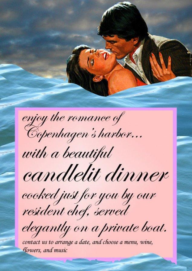 Det krævede blandt andet stor tillid at lade Parfyme arrangere en Romantisk Middag med vin, musik og servering på vandet. Foto: Parfyme