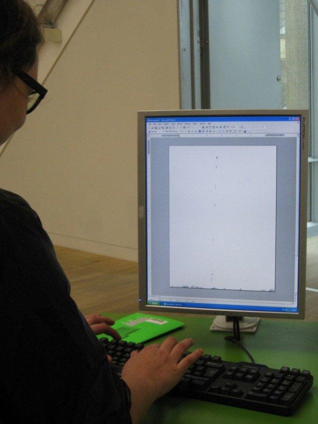 Jacob Nielsens ubrugelige og lattervækkende Wordprogram. Jacob Nielsen, Grænseflader (Words), 2008. Foto: Kasper Lie.