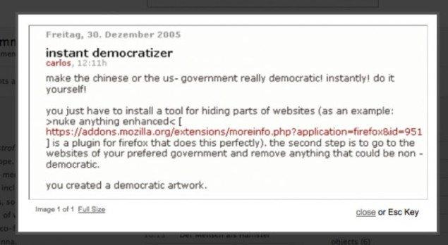 Instant Democratizr (2005) Foto: Carlos Katastrofsky, katastrofsky.cont3xt.net