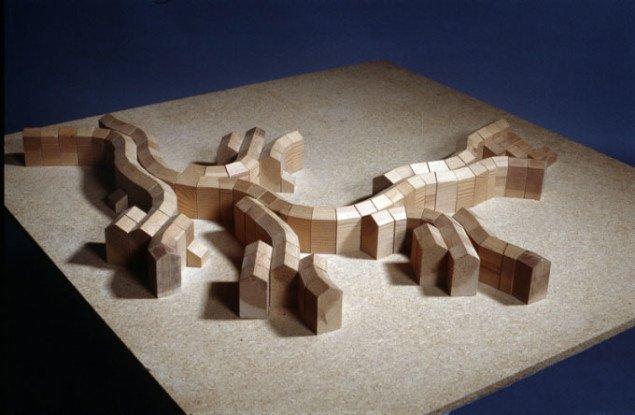 Model i træ af Utzons 2. projekt, 1970. Pressefoto Silkeborg Kunstmuseum