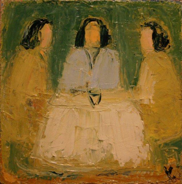 Maleri af Ingrid Kathrine Villesen Omkring et bord, 2008. Foto: Bente Jensen.