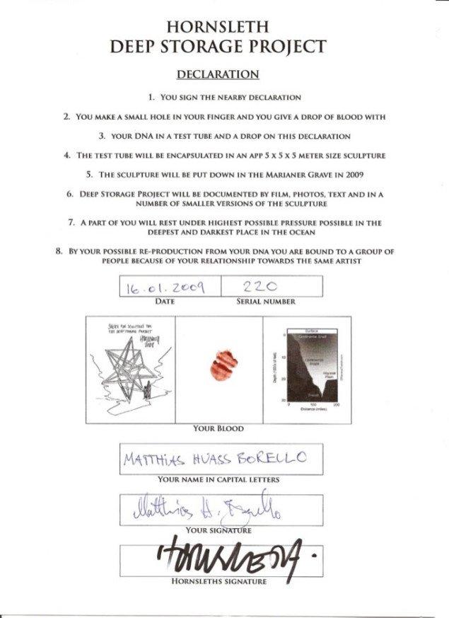 Certifikat med blod, skitse af skulpturen og begge parters signaturer.