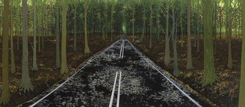 Søren Martinsen: Igennem skoven, 2007, Olie på lærred, 220 x 500 cm. Købt af Statens Museum for Kunst. Foto: SMK