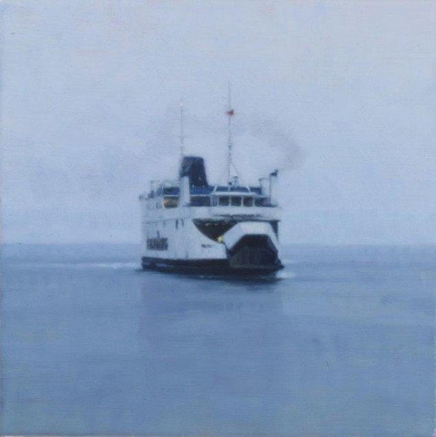 Ulrik Møller: Ferry (Fynshav), 2008 30 x 30 cm, olie på lærred Foto: Anders Sune Berg