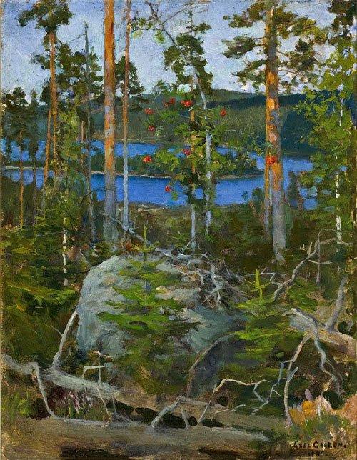 Akseli Gallén-Kallela: Udsigt over Jamajärvisøen, 1889. Privat samling