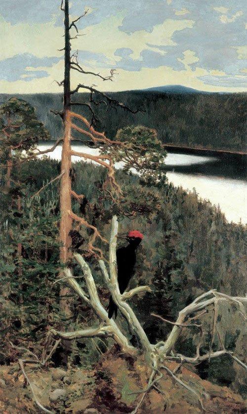 Akseli Gallén-Kallela: Den store sortspætte, 1892-94. Privat samling