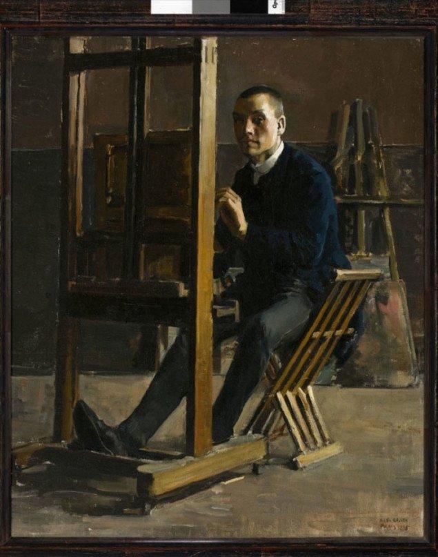 Akseli Gallén-Kallela: Selvportræt ved staffeliet, 1885, privat samling