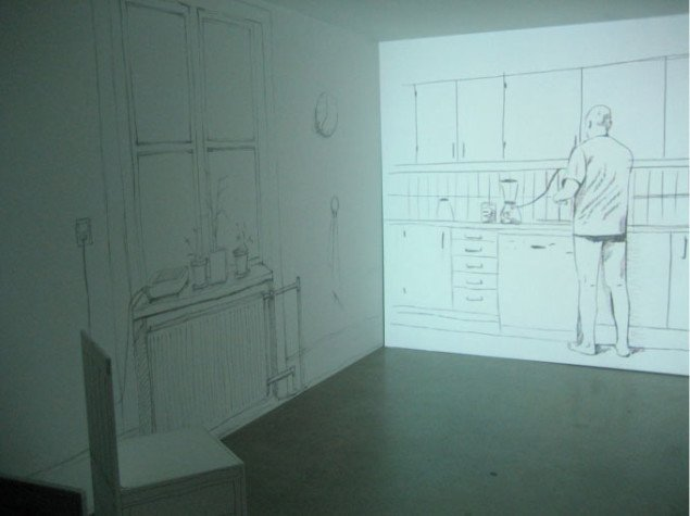 Christina Bredahl Duelunds videoinstallation.  Vi er i hendes køkken. Foto: Lise Bøgh Sørensen