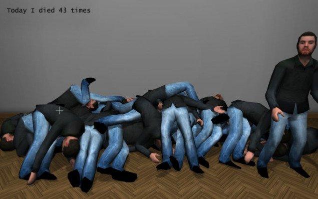 Jacob Tækker: Today I died (43 times), på Co-Lab. Still fra værket.
