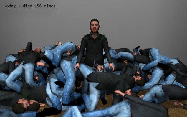 Jacob Tækker: Today I died (156 times), på Co-Lab. Still fra værket.