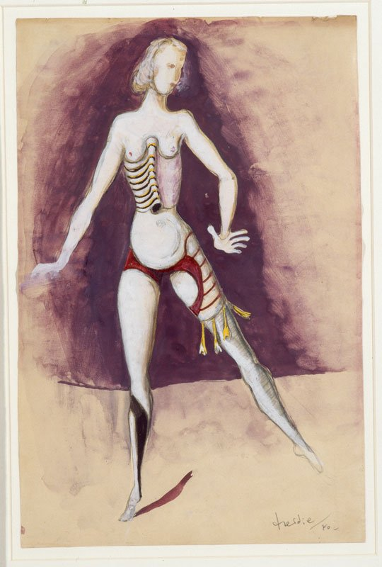 Wilhelm Freddie: Den søgende (kostumeskitse til Kærlighedens Triumf). Privateje, København 1940, Akvarel og gouache på papir, 287 x 189 mm, Foto: SMK foto