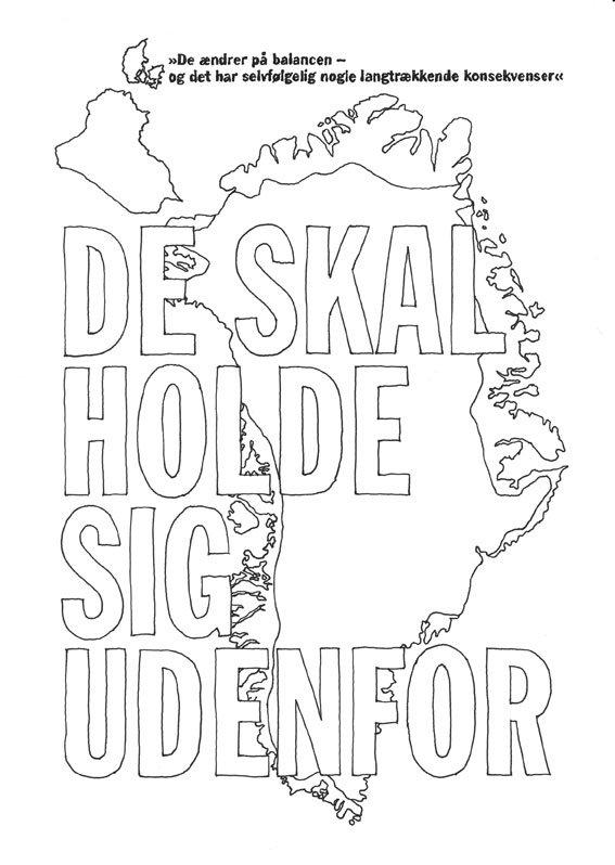 Kristina Ask: Der var engang i fremtiden: DE SKAL HOLDE SIG UDENFOR, 2008. Der fint illustrerer dobbeltheden i den passificerede rolle Danmark har givet Grønland.