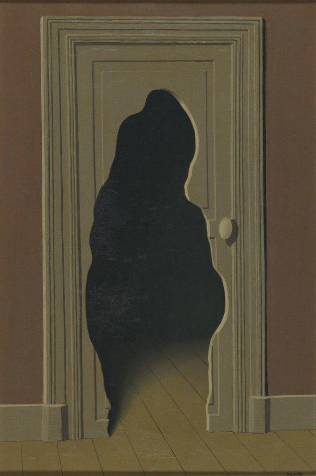 René Magritte. Det ikke forventede svar, Olie på lærred, 82 x 54 cm.