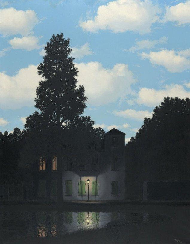 René Magritte: Lysets herredømme, 1954, olie på lærred, 146 x 114 cm.