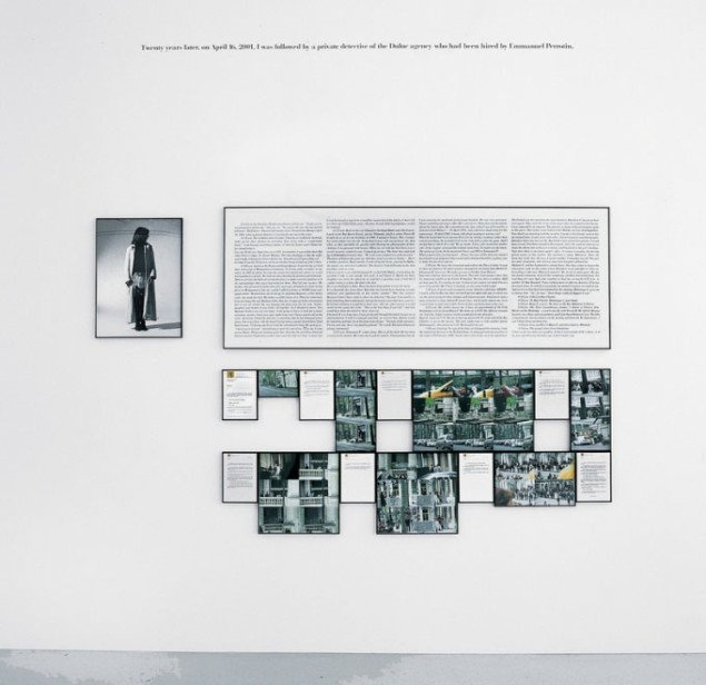Sophie Calle: Twenty years later. I 2001 gentog Calle et værk fra 1981, hvor hun fik en privatdetektiv til at registrere hendes færden i løbet af en dag. Foto: SABAM. Courtesy Galerie Emmanuel Perrotin, Paris / Miami.