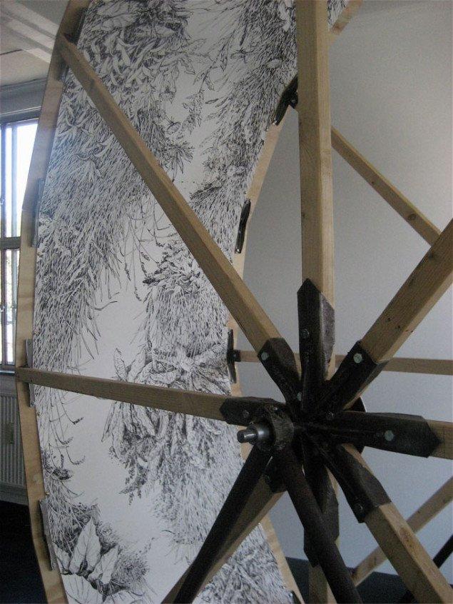 Engsti – menneskehjul, 2009 er oprindeligt et forslag til en alternativ fængselsform. (Foto: Marie Dufresne / Beaver Projects)