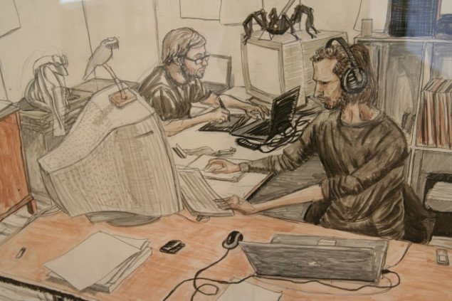 En af Johannes Balsgaards tegninger fra serien Kunststtuderende i arbejde. Foto: Marie Norman Nyeng