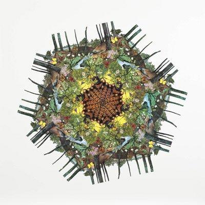 Collage, udklip af natur- og dyreleksika,120 x 120 cm, 2009, Magnetic Fields, galleri NB Viborg. (Foto: Pernille Bøttcher)