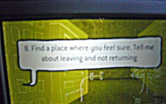 'Find et sted, hvor du føler dig tryg og fortæl mig om at forlade og aldrig vende tilbage'. (foto: Matthias Hvass Borello)