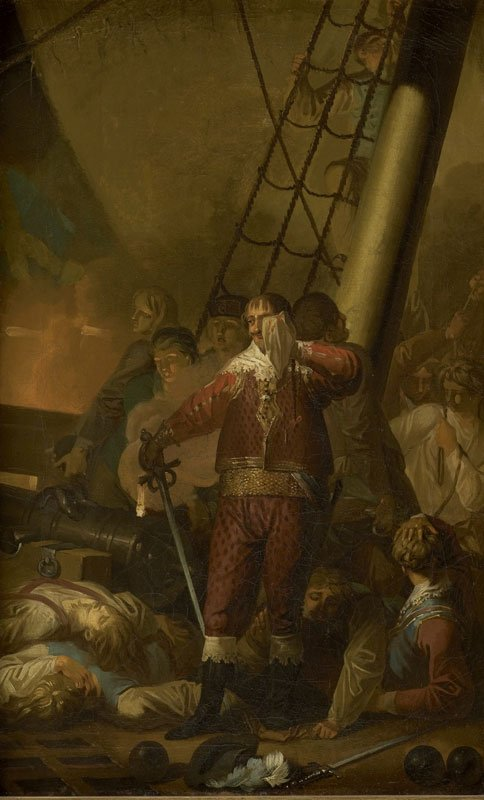Nicolai Abildgaard: Christian IV på Trefoldigheden i slaget på Kolberger Heide, 1644, (skitse), Statens Museum for Kunst, 1782, Olie på lærred, 61 x 37 cm. Foto: SMK.