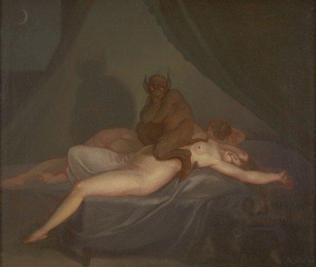 Nicolai Abildgaard: Mareridt, Vestsjællands Kunstmuseum, ca. 1800, Olie på lærred, 35.3 x 41.7 cm. Foto: SMK.