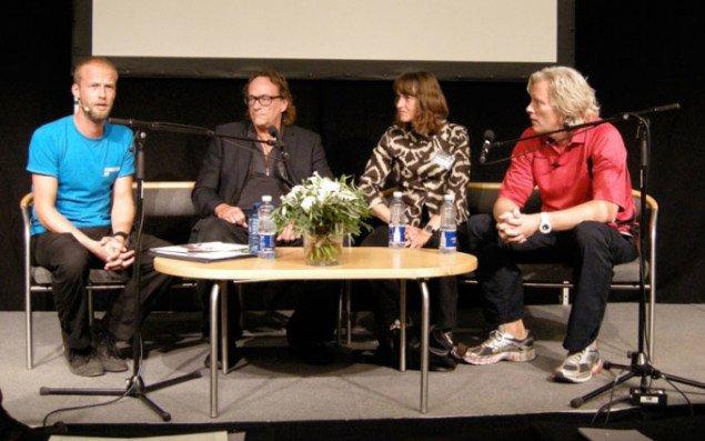 Debatmøde i Forum med Christian Have, Elisabeth Toubro og Kristian von Hornsleth.  Foto: Solveig Lindeskov Andersen