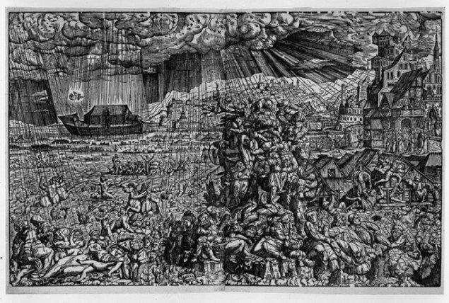 Syndfloden som Melchior Lorck forestillede sig den i 1540'erne. (SMK Foto)