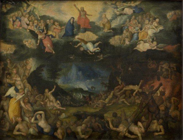 Et af udstillingens ældre indslag: Jan Brueghel d.æ. Dommedag, 1602. (SMK Foto)