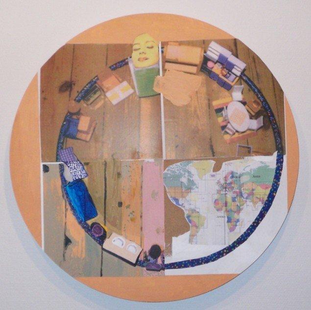 Linda Bjørnskov, I de små stuer, i de små hjem, 2009, papir, akryl på MDF-træflade. Foto: Ralf Søndergaard