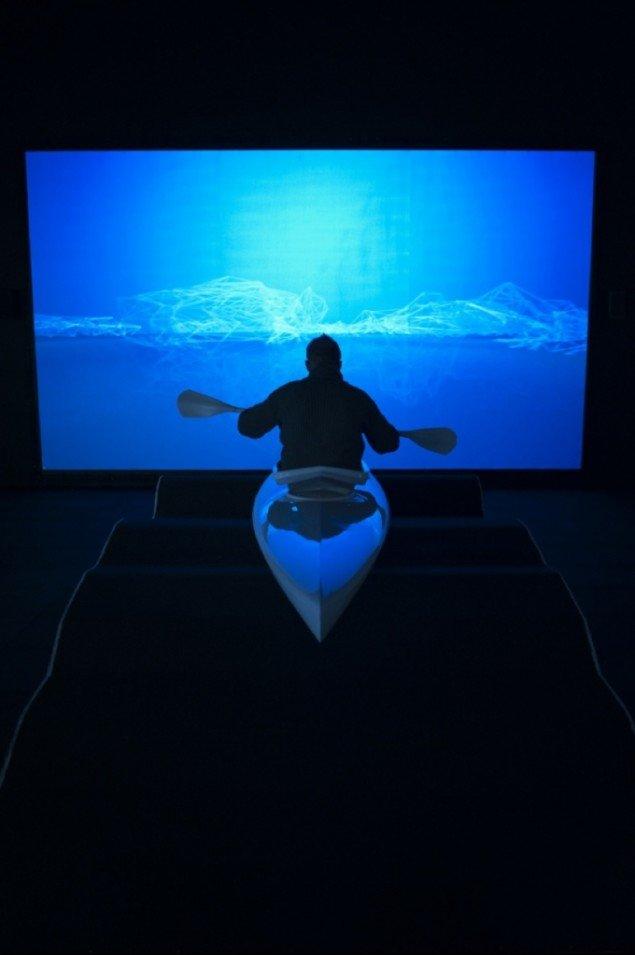 Jette Gejls virtuelle kajak på Moesgård Museum. Pressefoto