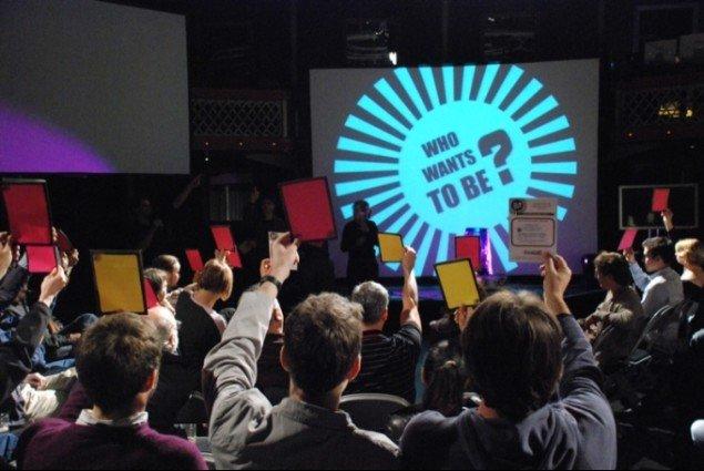 Gameshow med afstemning. The People Speak. Billede hentet fra Rethinks hjemmeside