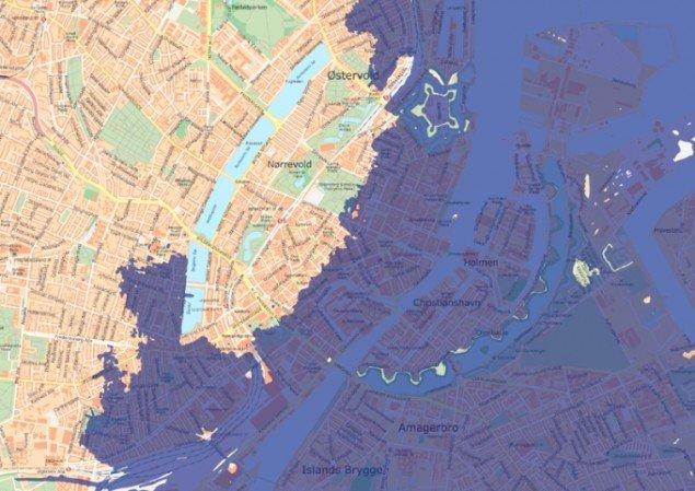 Sådan vil København se ud, hvis vandstanden stiger 7 meter. (Foto: Kort og Matrikelstyrelsen)