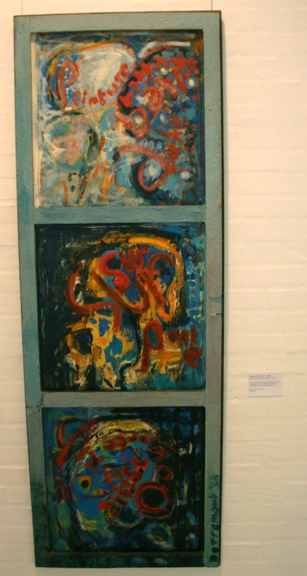 Ordmaleri med Christian Dotremont: 'Peinture battante sur porte fixe aussi overte' ('Oplukkeligt maleri i uoplukkelig dør på vid gab'), 1964. Foto: Kristian Handberg