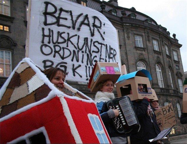 D. 29. oktober 2009 lavede UKK en aktion for bevarelse af huskunstnerordningen og BGK. (Foto: Nikolaj Kilsmark)