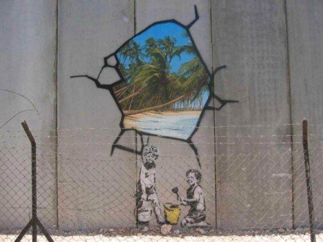 Et af Banksys værker på den israelske mur på Vestbredden. (Foto: Markus Ortner)