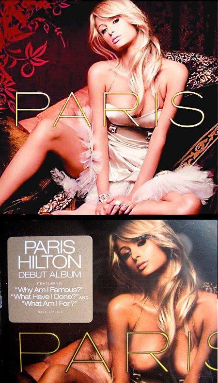 Banksys manipulation af Paris Hiltons cd-cover (nederst), 2006.