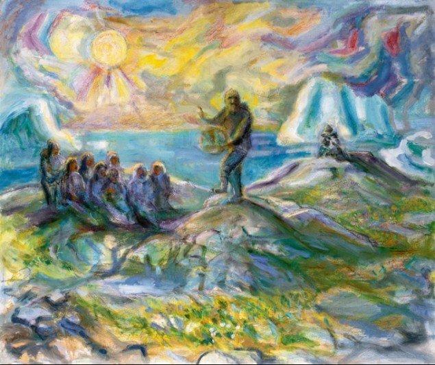 Hans Lynge: Den sidste trommesang, 1984-85 (Forlæg til billedtæppe).