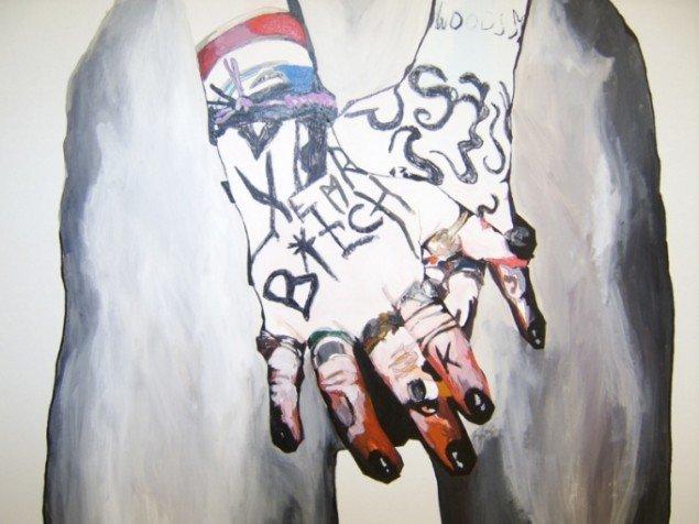 Inspirationer fra gadekunstens tags og graffiti præger værkerne. Helle Mardahl, The Turbaned Bitch, 2009. Foto: Lærke Aarup