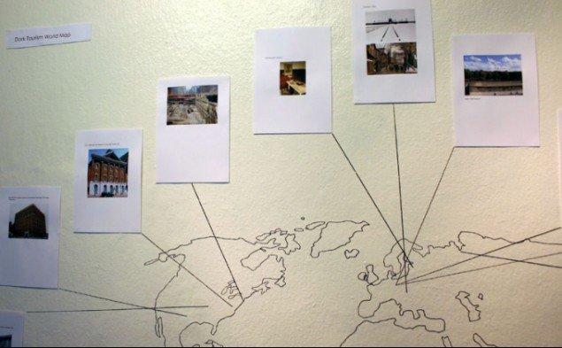 Udstillingens mapping af Dark Tourism-mål verden over. Pressefoto.