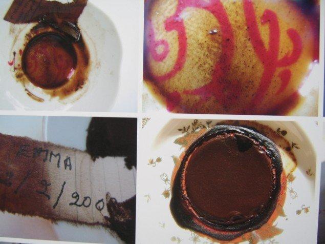Lara Baladi Diary of the Future - Rose  (udsnit). Værket udspringer af den arabiske tradition for at spå i kaffegrums, og er kædet sammen med begivenheder omkring Baladis fars død. Foto: Lærke Aarup.