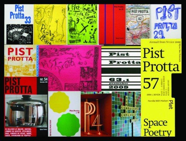 Et udpluk af Pist Prottas mange forskelligartede omslag. (Foto: Space Poetry/LJN)