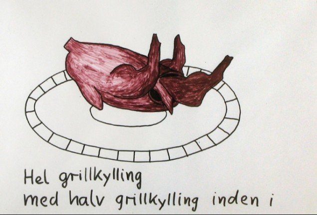 Andreas Schulenburg: Hel grillkylling med halv grillkylling inden i. Pressefoto