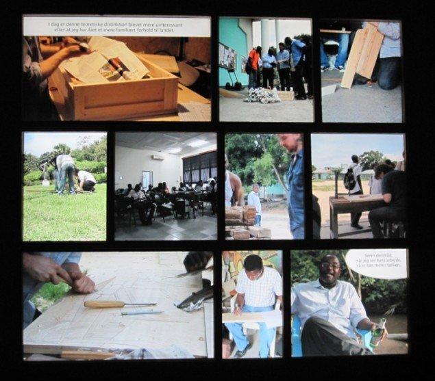 Videoskærmen, der dokumenterer Assenholts ophold i Congo. Foto: Mette Villum Jensen.