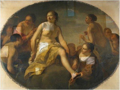 Diana klæder sig efter badet , Italien, ukendt kunstner, 1648 - Under konserveringen. Foto: Tina Petterson.