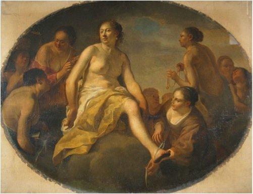 Diana klæder sig efter badet , Italien, ukendt kunstner, 1648 - Før konserveringen. Foto: Tina Petterson.