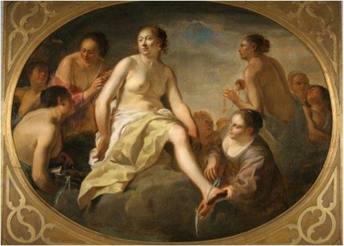 Diana klæder sig efter badet , Italien, ukendt kunstner, 1648 - Efter konserveringen. Foto: Tina Petterson.
