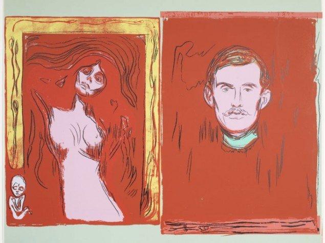 Andy Warhol: Madonna og Selvportræt (after Munch), 1984 Silketryk (Henriette Dedichen / Foto: Arild Bergseth)