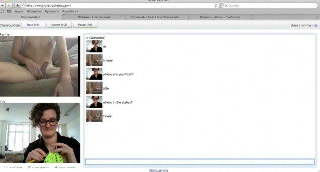 Emilia hækler og chatter med fyren fra Texas. Billedet er fra Emilias film Chatrouletten